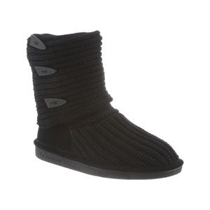 Black Knit Bearpaw Boots | Size 8